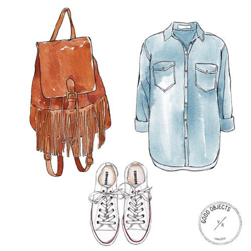 Good objects - Denim shirt, Anthropologie Cadogan Backpack & Converse sneakers @anthropologie @converse #goodobjects #illustration