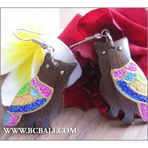 Fashion Earring Owl Wood Carving Painting - indonesia manufactured wood jewellerry fashion from bali indonesia, bali wooden earrings owl painting carving, wholesaler wood jewellerry fashion from bali indonesia, handmade wooden earrings carving painting, shop online accessories from bali indonesia,