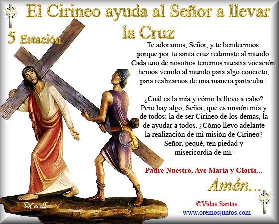 Imágenes de Cecill: Estaciones del Via Crucis † 5- El Cirineo ayuda al Señor a llevar la Cruz
