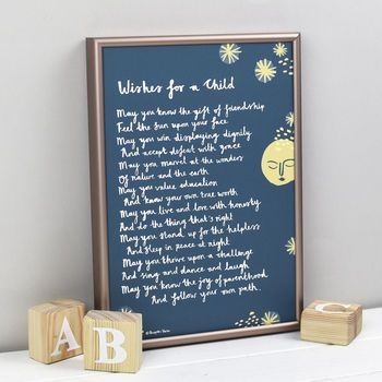 'Wishes For A Child' Christening Print From Godparent