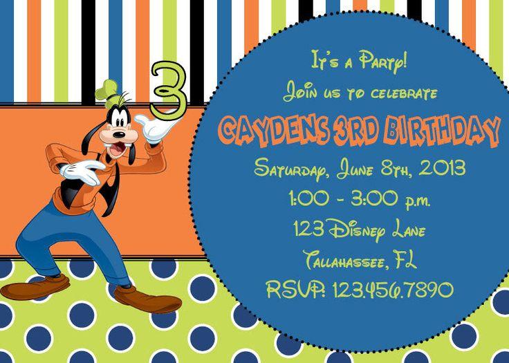 goofy inspired printable birthday invitation by
