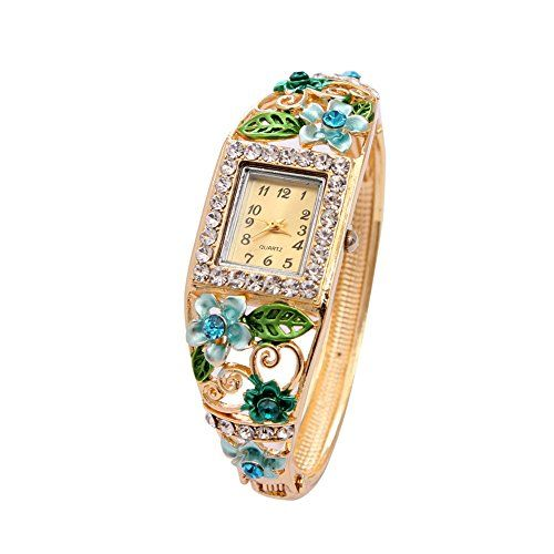 Bs1981 New Luxury Green Crystal Bracelet Flower Hot Women Casual Watch Women Wristwatches ** Visit the image link more details.