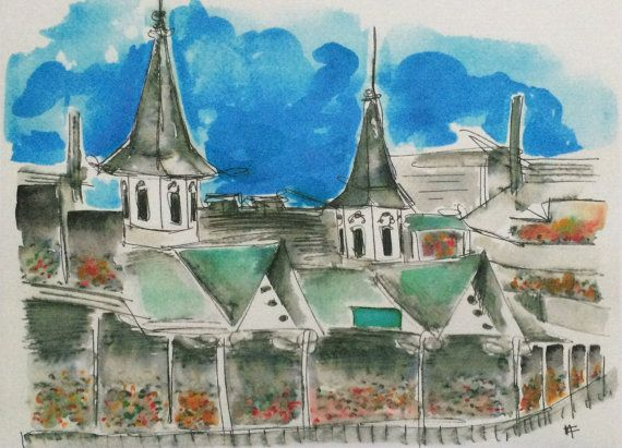 The legendary twin spires of Churchill Downs in Louisville, Kentucky. This is a print of an original piece I did with ink and watercolor. The print is on 8.5 by 11 paper - the image itself is 8 by 10 and would fit in a standard 8 by 10 frame. I like to keep some edge on it for shipping purposes, and in case you choose to mat it. Please select from the menu if you would prefer matte watercolor paper (this has some texture/tooth to it, and is not shiny) or glossy photograph paper (classic ...