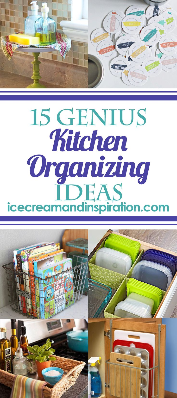 These 15 Genius Kitchen Organizing Ideas will have your kitchen looking neat and organized in no time!All are inexpensive and easy!