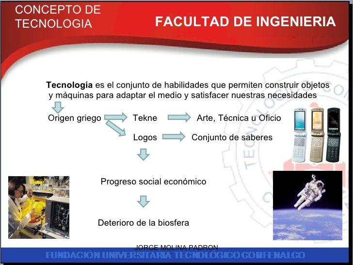 FACULTAD DE INGENIERIA CONCEPTO DE TECNOLOGIA Tecnología  es el conjunto de habilidades que permiten construir objetos y m...