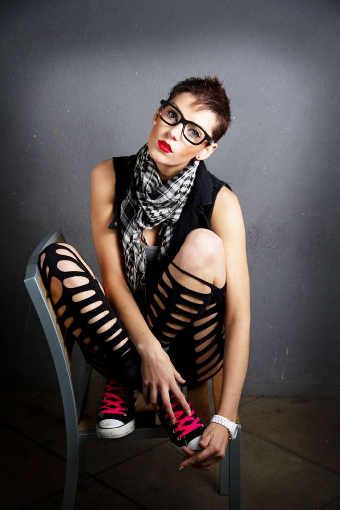Edgy/Alternative Fashion | Love the slits and rips in the hose coupled with the red-laced gym shoes.