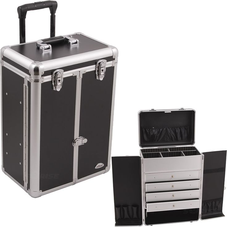 Black Smooth Wheel Case W/Drawer - C6008 - salonhive.com