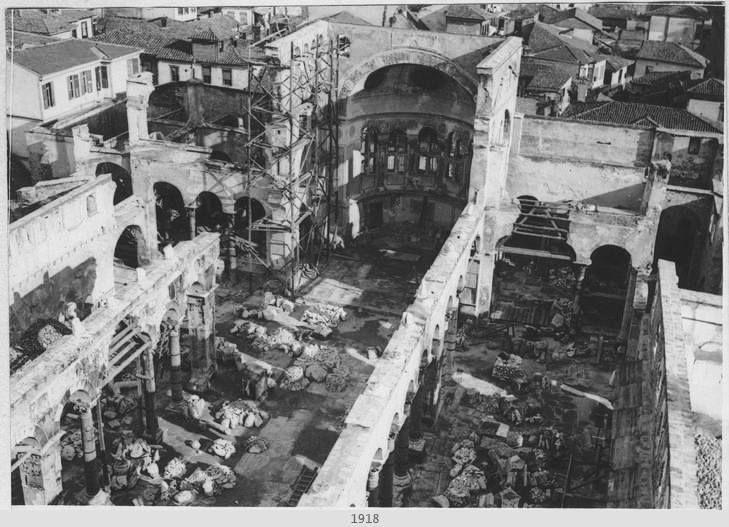 Saint Demetrios church after the great fire of 1917 in Thessaloniki