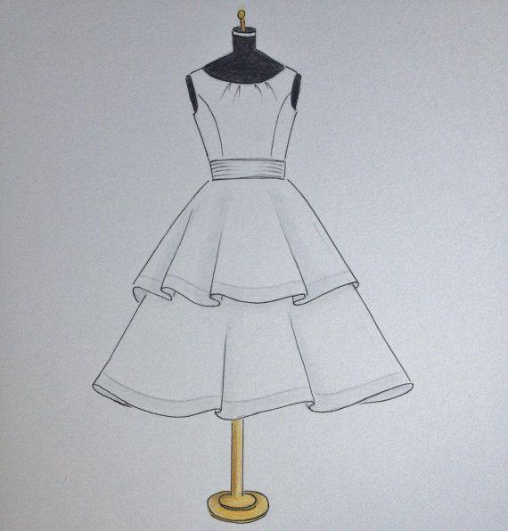 Custom Wedding Flower Girl Dress Sketch Original Dress Drawing