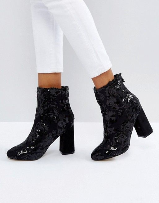 New Look Floral Sequin Embellished Heeled Ankle Boot  8eb06a8fceb