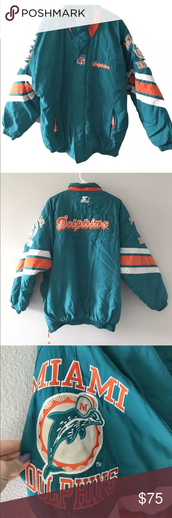"""VTG 90s Starter Jacket Miami Dolphins Puffer coat Vtg Starter NFL Proline Miami Dolphins Jacket Coat Men large Puffer 90s Full Zip   Great condition authentic Starter Proline NFL Miami Dolphins jacket.   Hidden Full Zipper closure with Velcro  No holes or stains.   Size Large (runs big)  Chest: 29""""  Length: 31"""" STARTER Jackets & Coats Puffers"""
