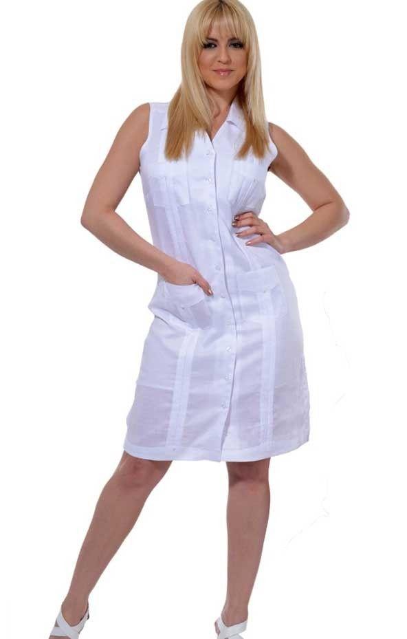 Ladies Guayabera Dress no sleeve. Linen.