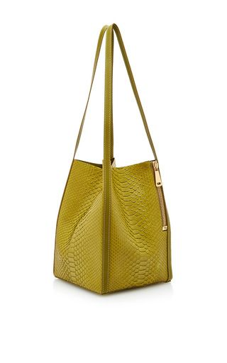 This handmade **VBH** open tote is rendered in python and features a minimal square shape and fixed shoulder straps.