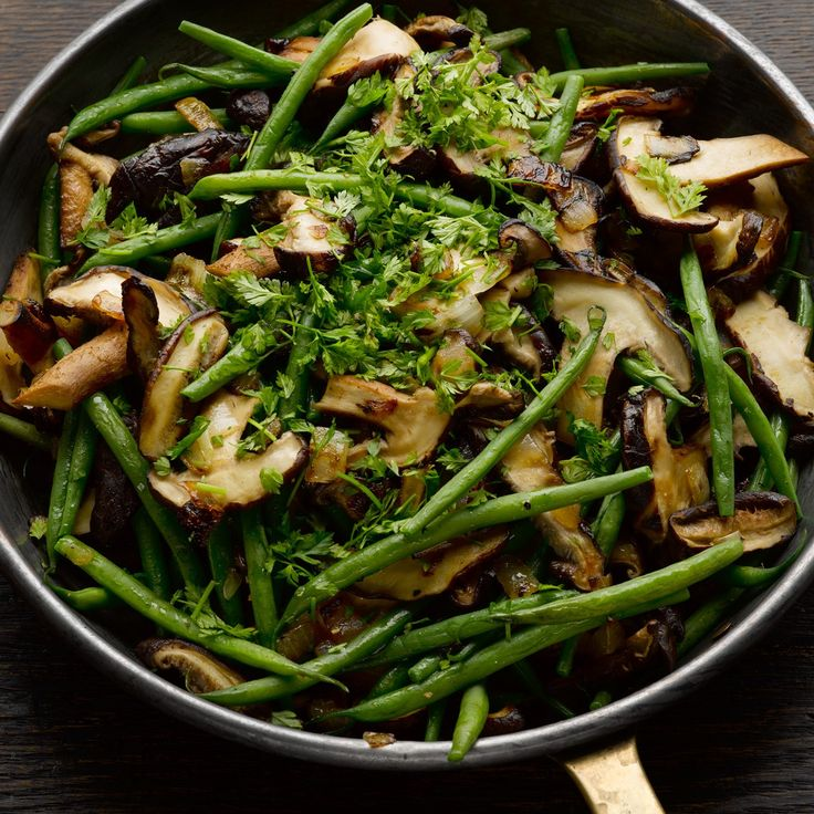 French beans with shiitake mushrooms & nutmeg
