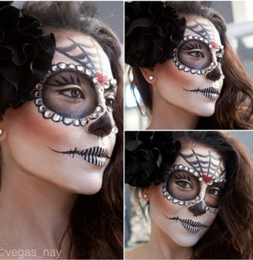 Day of the Dead Makeup | Day of the Dead. We think these striped lips are especially cool!
