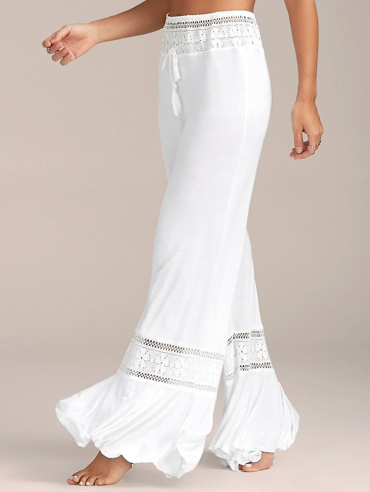 High Waisted Lace Insert Wide Leg Pants - WHITE XL