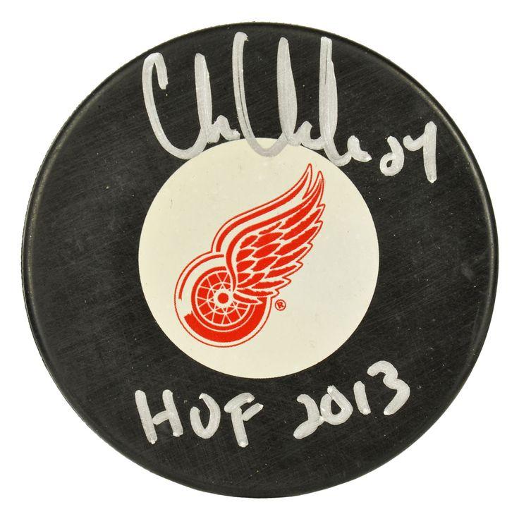 Autographed Detroit Red Wings Chris Chelios Fanatics Authentic Logo Puck with HOF 13 Inscription