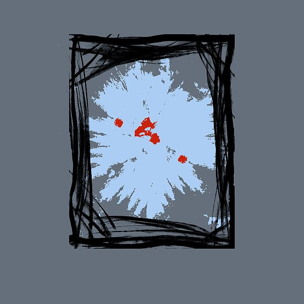 B1 - This is a abstract painting with frames and shapes in sky blue with a red accent on a grey tone background. Ideal for interior decorating in any size or position in a home or office.