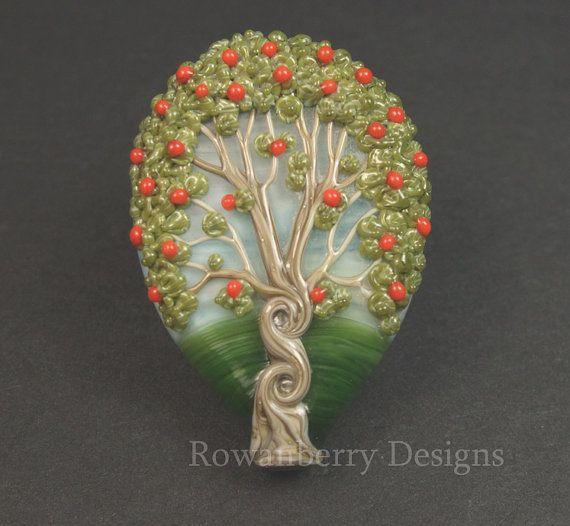 Celtic Rowan Tree | Celtic Twisty Rowan Tree with Berries - Handmade Lampwork Glass Focal ...