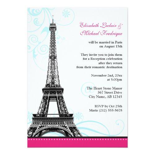 ab2115bdf27f ... Bridal Showers with a Paris theme. Flourish Eiffel Tower Parisian  Reception ONLY Card