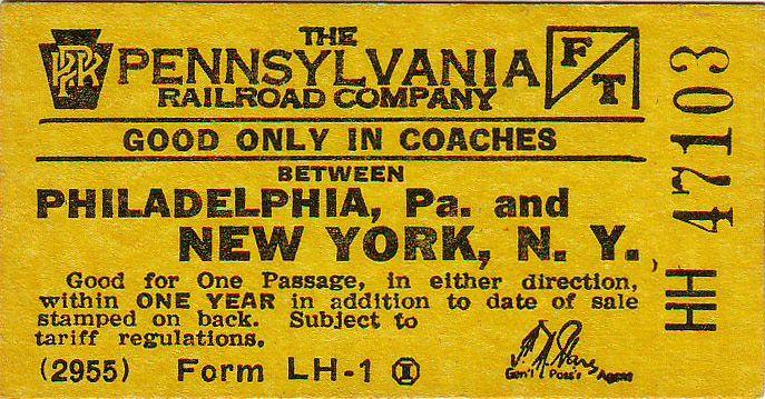 PRR Philadelphia-New York City coach ticket, 1955File:PRR Phila NY Coach Ticket c1955.jpg