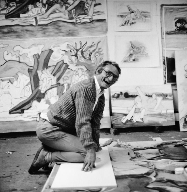 Larry Rivers in his studio