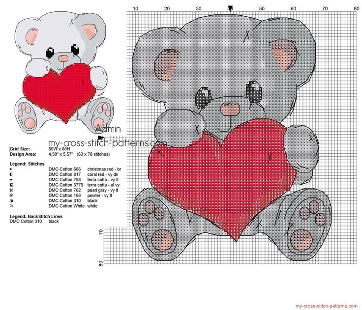 Cute grey color teddy bear with heart cross stitch pattern