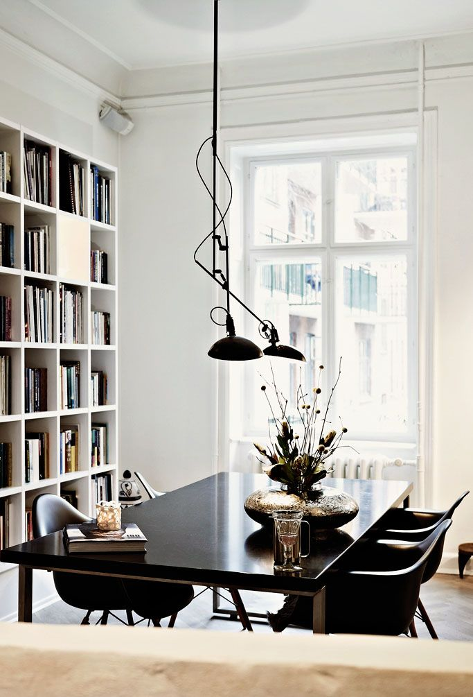 Danish fashion designer Naja Munthe home, elegant architecture with a restrained black and white palette.