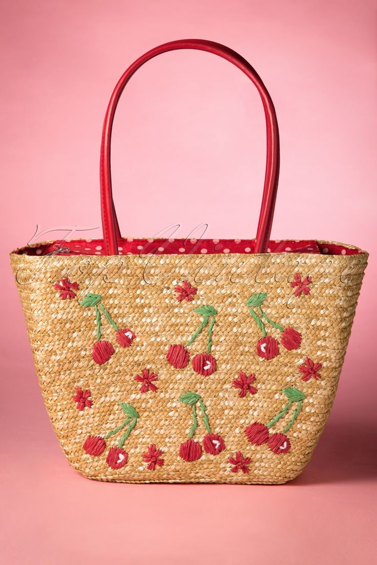 Sunshine, blue skies and a picnic at the park… those beautiful summer days will only get better with this 50s Cherry Straw Picnic Bag!This cute retro bag is made from beautiful woven straw with playful raffia cherries all-over! The big compartment closes with a zipper and the inside features an extra little pocket. She is fully lined with a red fabric with brighter polkadots, cute on the outside and inside ;-) A fun day at the park, relaxing at the beach or a trip down town... you ...