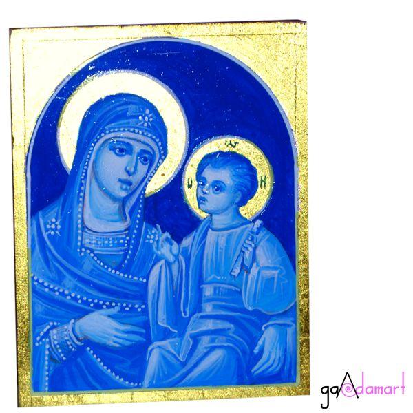 Icoana unicat pictata pe lemn - Maica Domnului cu Pruncul