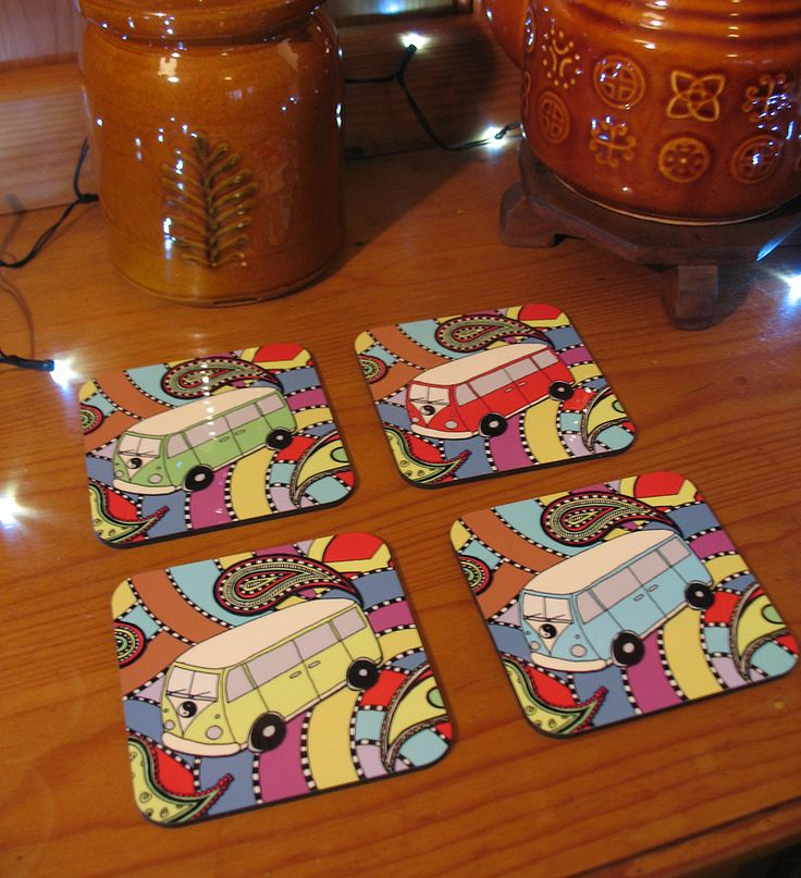VW Love Bus Coaster Set