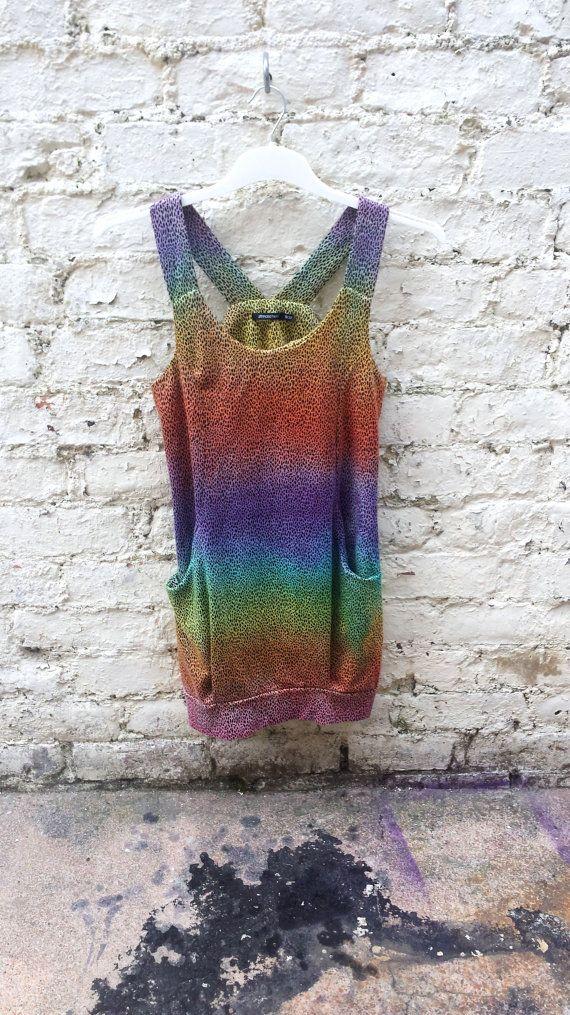 Leopard Print Rainbow Ombre Dip Dye Ladies Long Vest by AbiDashery