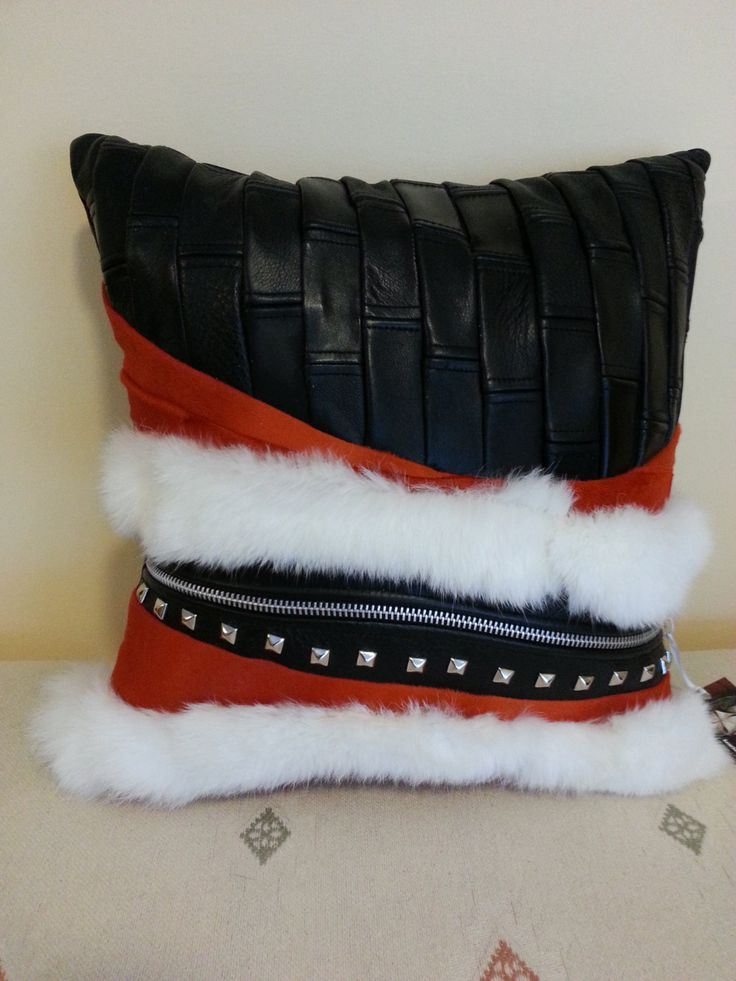 Leather throw pillow/black by Sewing4YouStudio on Etsy