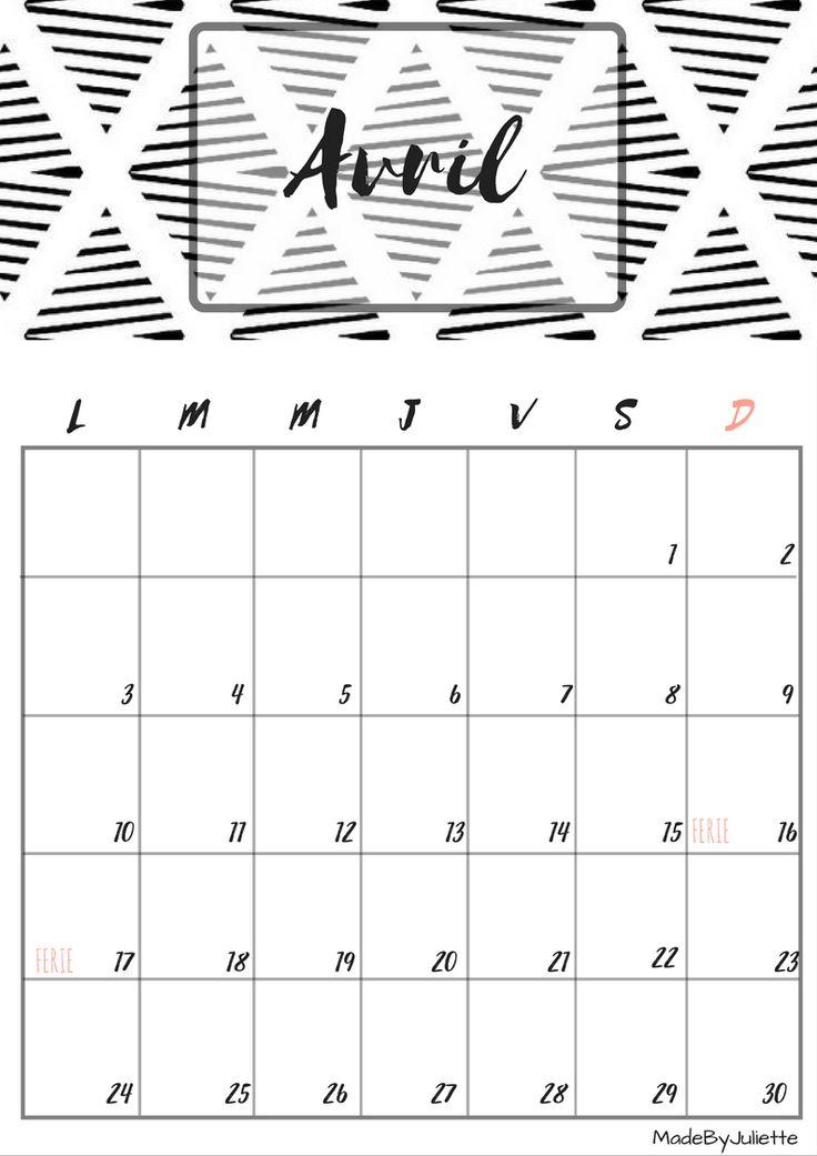calendrier Avril 2017 à imprimer en noir et blanc