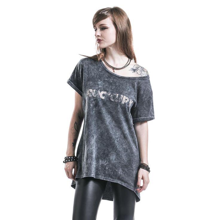 """Maglia donna """"Logo"""" del brand #Rockupy, modello lungo, con trattamento Batik, maniche arrotolare e ampio scollo che permette di indossare il capo lasciando una spalla scoperta."""
