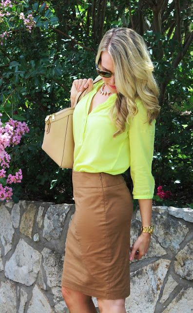 Landing On Love: Today's Look: A Work Staple & Neon neutral pencil skirt & neon top