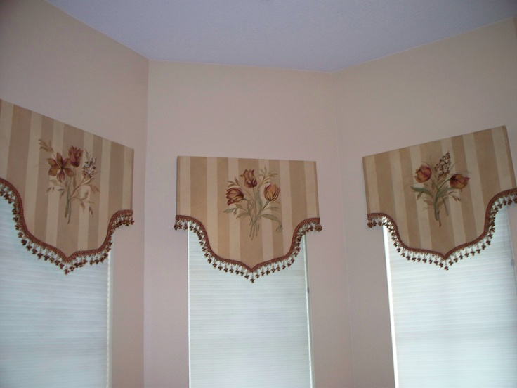 Custom hand painted cornice boards from www.meandmyporchdesigns.com