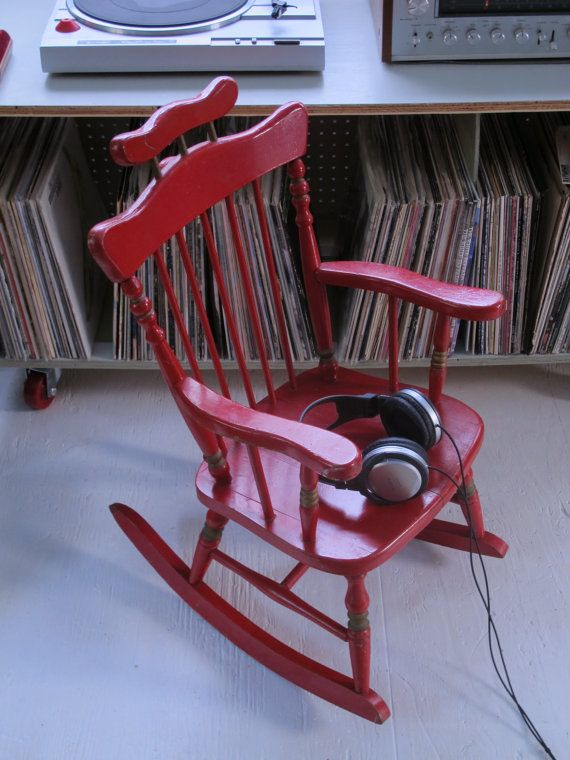 Child S Antique Red Rocking Chair Vintage Kid S Rocker