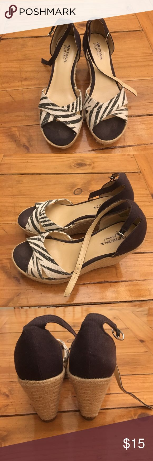 Espadrilles, size 7 Black and white espadrilles wedges, size 7. Slightly used but still in good condition. Arizona Jean Company Shoes Espadrilles
