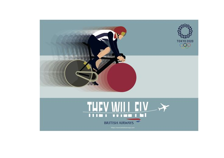 'They will fly' postcard design, for British Airways 2020 Tokyo Olympics advertising campaign by Ben White, Esher College 2017