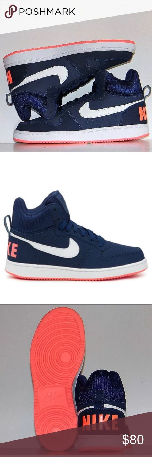 NIKE COURT BOROUGH MID ATHLETIC SNEAKERS NEW NIKE WOMEN'S COURT BOROUGH MID ATHLETIC SNEAKERS 844906 401 COLOR: BLUE/WHITE-PINK SIZE: 7.5 Designed for comfort, on-court look for off-court, everyday wear. The leather and unique textile upper offers durability, while the padded collar provides plush cushioning at the ankle. The mesh tongue helps to enhance breathability, and the rubber outsole provides optimal traction. Upgrade your street-style look with the Court Borough casual shoe. Nike…