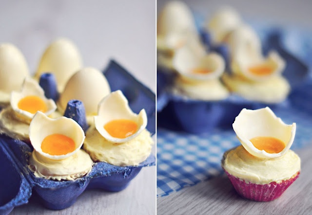 White Chocolate Easter Egg Cupcakes--With a Twist