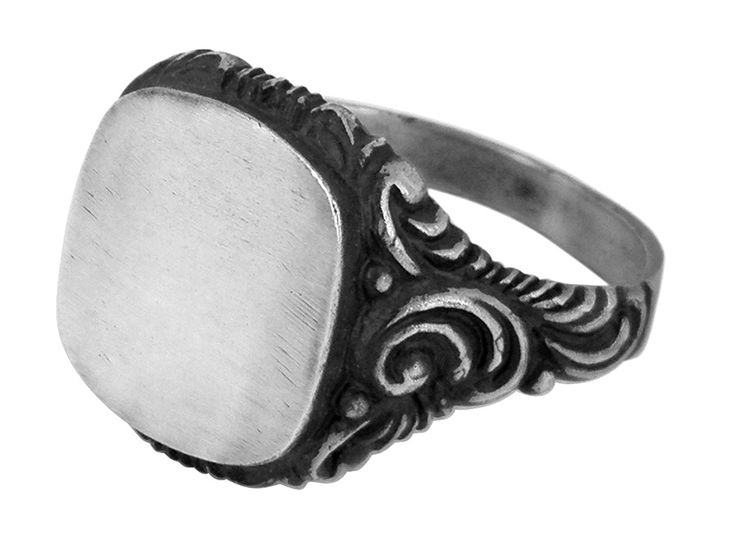 Scroll signet ring in ss