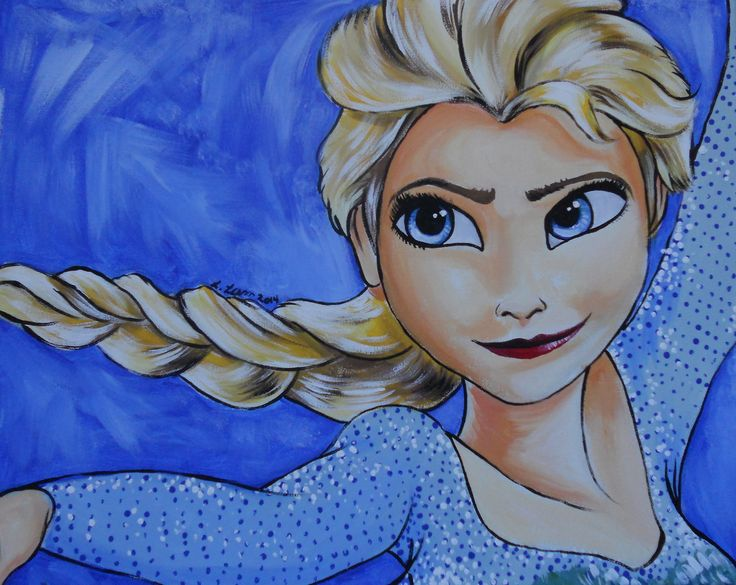 "Another addition to my Frozen painting collection. ""Elsa"" Acrylic on Canvas, 16 x 20, January 2014"