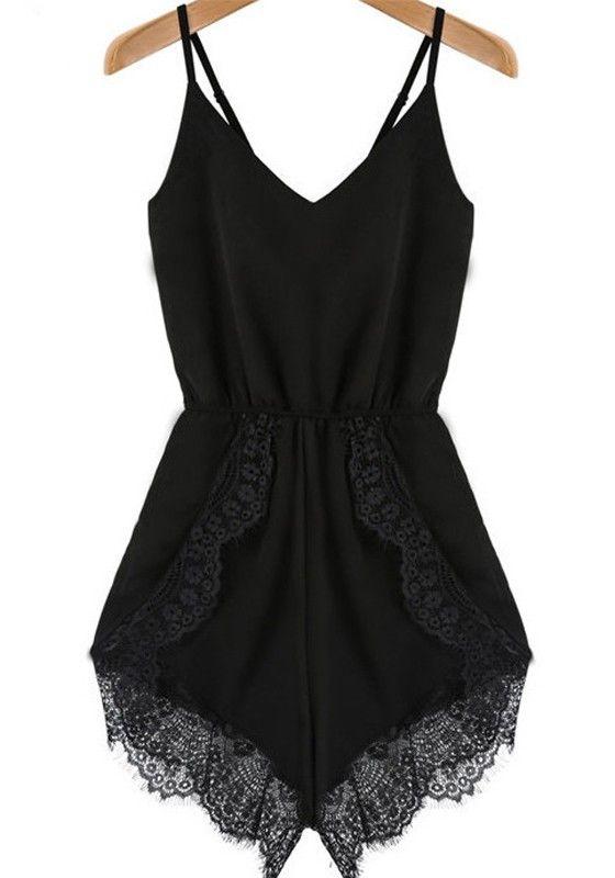 Black Patchwork Lace Condole Belt Mid-rise Short Jumpsuit - Jumpsuit Pants - Bottoms