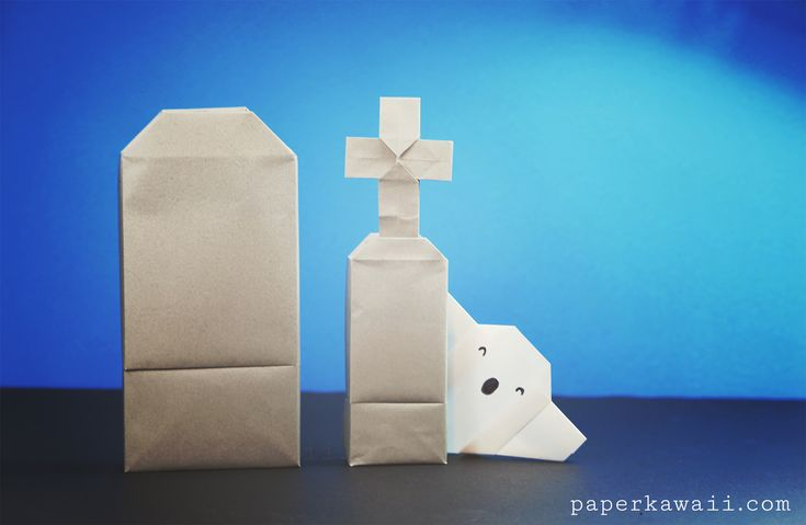 Make a nifty origami tomb stone box this Halloween! This is an intermediate – advanced origami box. The top part or 'gravestone' part is easier than the inner box.