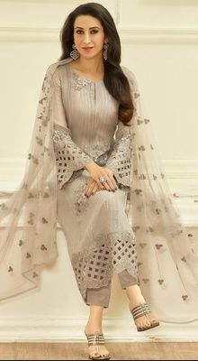 Beige Color Embroidered Georgette Pant Style Suit by Karisma Kapoor