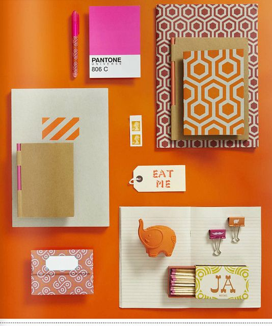 Inspiring Views From 91 Magazine: Colors Patterns, Geometric Patterns, Chic Offices, The Notebook, 91 Magazines, Hexagons Patterns, Paper Good, Orange Pink, Offices Supplies