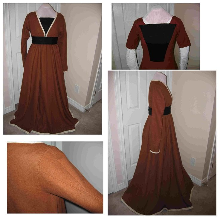 The gown is made from warm brown coloured wool in a heavy hand. The trim is also heavy weight wool. The gown closes in front with lacing rings, as were quite commonly used in the 15 th century. The rings are hidden from view on the underside of the gown.  This is a very simple…