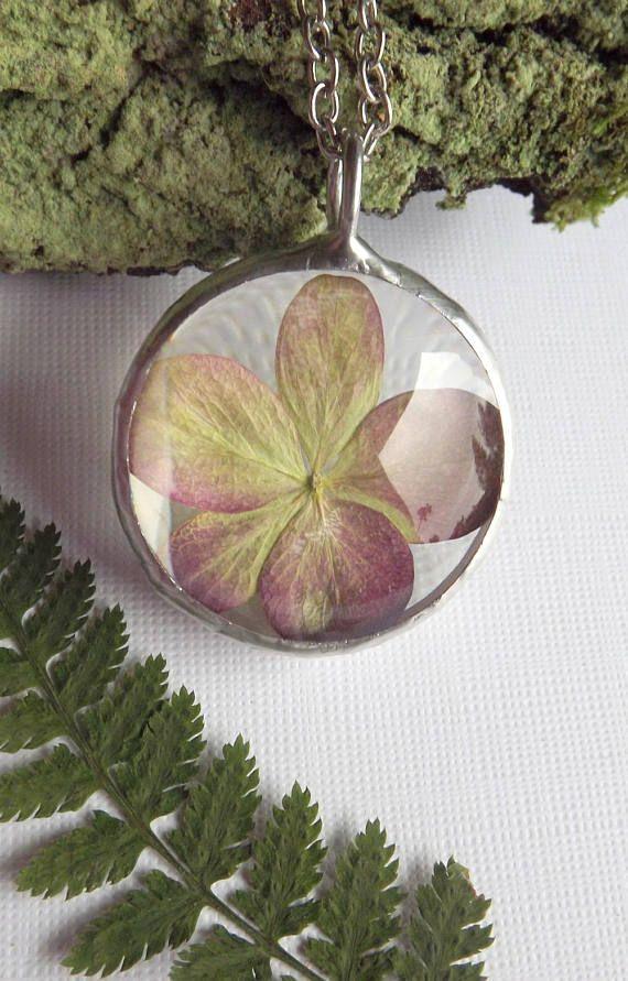 Hydrangea necklace. Real Hydrangea. Dried flower necklace.